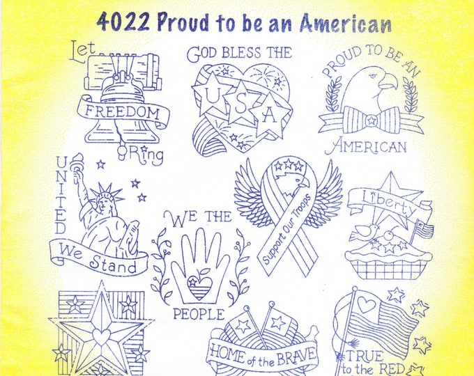 Aunt Martha's Hot Iron Transfers 4022, Proud To Be An American