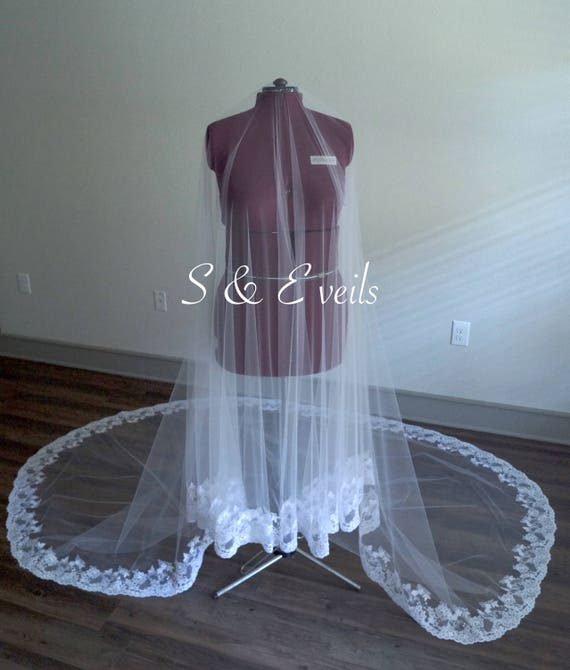 LACE DROP Veil | long blusher veil, light ivory ivory champagne colors, mantilla veil, traditional veil, lace trim, cathedral drop veil