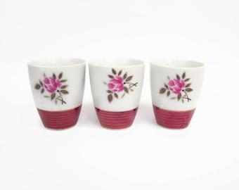 Vintage Japanese Sake Cups Pink Rose Design 22KT Gold Shot Glasses Set of 3 Espresso Cup Made in Japan Porcelain Tea Cups Barware