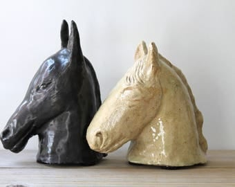 Primitive hand made vintage horse and donkey sculptures / 1950s retro animal head figurines / black donkey / beige horse / kitsch curiosity
