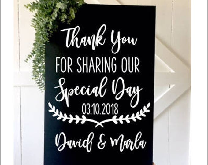 Wedding Decal-Thank you Wedding Decal- Thank you for Sharing our Special Day -Vinyl Decal-Wedding Chalkboard Decal DIY Lettering Rustic