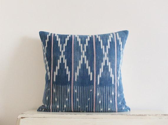 "Vintage African Baule strip cloth pillow / cushion cover 20"" x 20"""