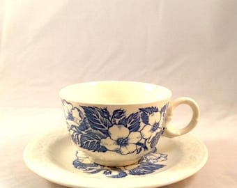 Blue and White Cup and Saucer Wild Rose
