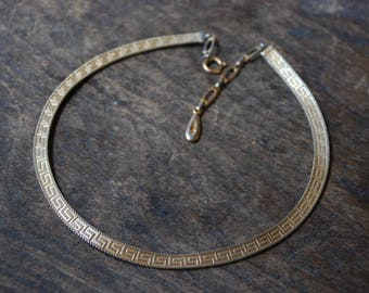 Vintage Henkel and Grosse 1959 Choker Necklace Mesh Greek Key Pattern Adjustable Made in Germany 1950's // Vintage Designer Costume Jewelry