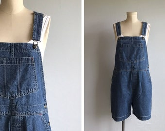 Vintage Denim Overall Shorts / 1990s Stonewash Indigo Blue Shortalls / Bib Overalls Shorts