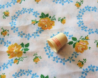 yellow roses and blue floral print vintage cotton blend fabric -- 44 inches by 1 yard