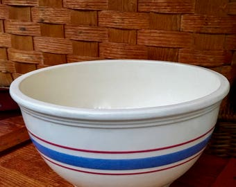"Stoneware Mixing 9"" Bowl, White with Blue and Red Stripes No. 326-9, Robinson-Ransbottom R. R. P. Co. Roseville Ohio ca. 1951"