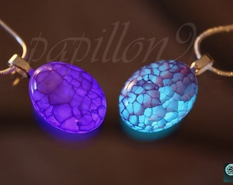 Agate Dragon veins Pendant / GLOW in the DARK / Agate Pendant / Purple Agate / Glow in the dark Agate / Agate Necklace /