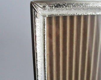 Vintage Frame Metal Silvertone Etched Design 8 x 10 Picture Frame Wall Hanging Tabletop