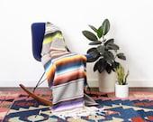 Vintage Mexican Saltillo Serape Blanket - Grey Boho Blanket