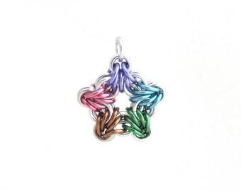 Pastel Star Pendant, Chain Maille Pendant, Multicolor Star Chain Maille