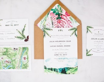 Rustic and Woodland Mountain Wedding Invitation: Florals and Trees