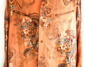 Vintage 'Cowgirl' oriental print and Embroidery shirt