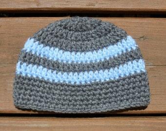 Baby Boy Hat, Toddler Beanie, Newborn Hat, Infant Crochet Hat, Shower Gift, Grey Baby Cap, Baby Beanie, Photography Props, Handmade Gifts