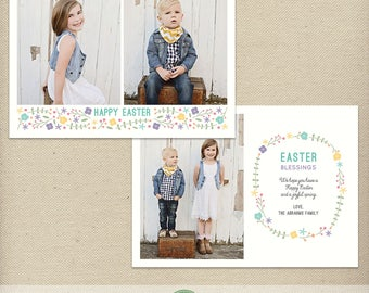 5x7 Easter Card Photoshop Template, Easter Photo Card, Happy Easter, Easter Blessings, Multiple Photos, Flowers, Bright, Cute - EA13