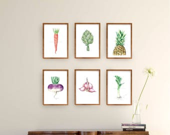Set watercolor vegetables and fruit print, set amount, set option, modern print set, food print wall art, watercolor print, choose set, sets