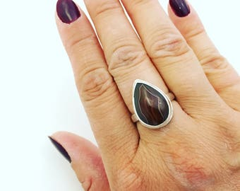 Lake Superior Agate Ring - Sterling Silver Cocktail Ring - Minnesota - One of a Kind