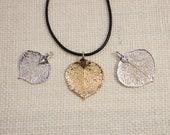 SALE Leaf Necklace, Silver Aspen Leaf, Silver Leaf, Real Leaf Necklace, Gold Leaf, Aspen Leaf, Boho Necklace, Silver Leaf Pendant, SALE337