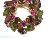 Discounted 15%  D&E aka Juliana Purple, Green, Fuchsia Wreath Brooch   Item: 14980   NEW PICTURES