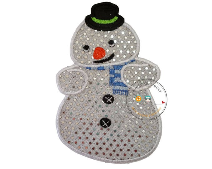 Sparkling snowman- iron on embroidered fabric applique patch