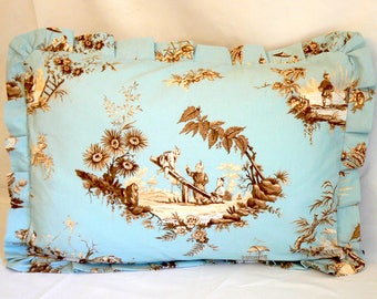Blue, tan and cream chinese toile, Standard pillow sham