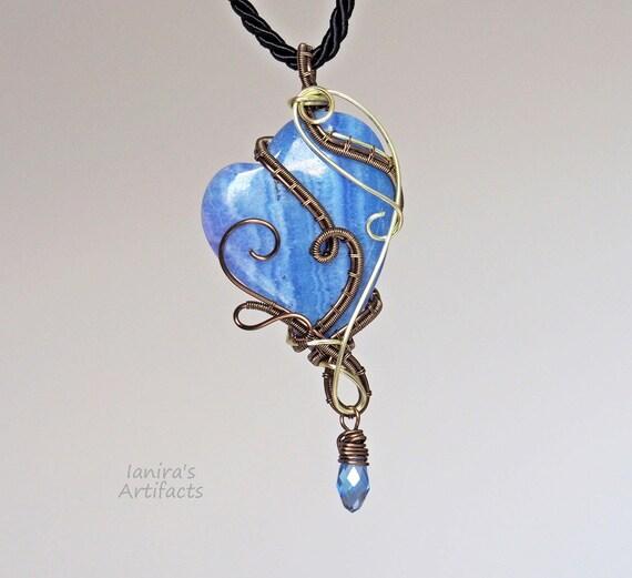 Βlue heart wire wrapped pendant Gemstone Love gift Boho style Handmade Artisan Artistic jewelry cool gifts for women girlfriend