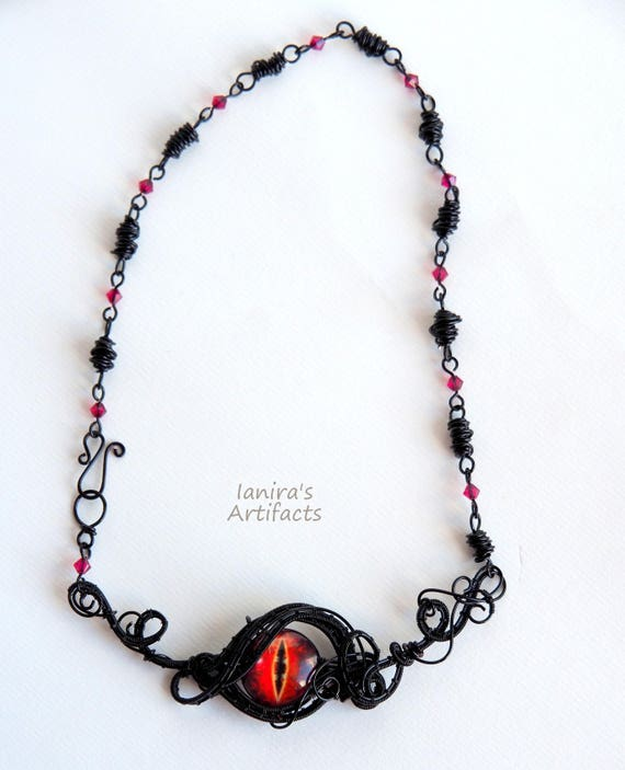 Dragon eye necklace, wire wrapped necklace, Gothic jewelry, Statement Goth Anniversary gift for her women Dragons red eye Cool gifts
