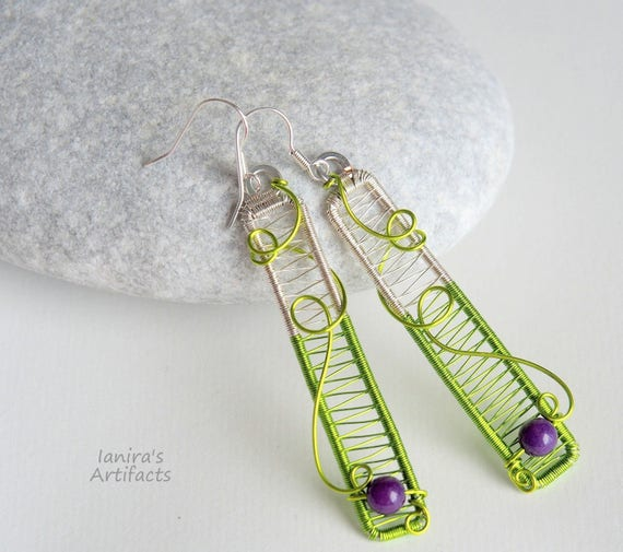 Wire wrapped bar earrings Green purple wire wrap minimalist jewelry rectangle spring gifts for women her Silver Anniversary gift for wife