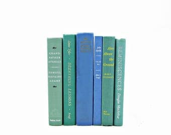 Mint Green BOoks, BLue Decorative Books, Wedding Centerpiece, Old Book Set,  Book Decor, Antique BOok Collection,  country chic