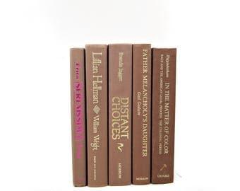 BROWN BOoks, Antique Book Set, Wedding Decor, Decorative Books, Interior Design, Instant LIbrary, Home Decor, Old Book Collection