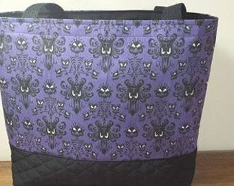 Haunted Mansion wall paper print tote/ Foolish Mortal tote/ Handmade cotton fabric tote/ Disney Inspired tote