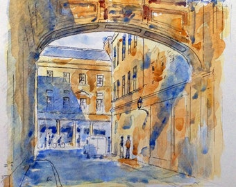 York Stret Bath print with mount, of watercolour by John Menage overall size including mount 10in. x 8in