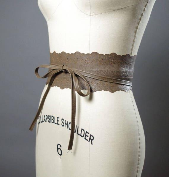 Vegan Leather Obi Belt - Brown Leather Obi Belt - Women's Wrap Belt - Leather Obi Belts - Boho