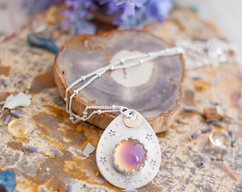 Color Changing Mood Necklace - Silver Necklace - Wicca Necklace - Gemstone Necklace - Boho Necklace - Moon and Stars