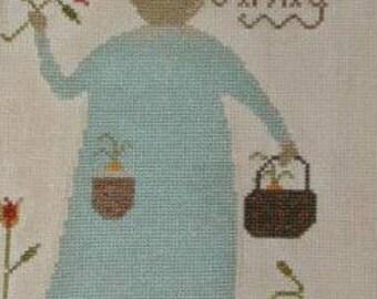 Cross stitch Pattern,Ah Spring, Notforgotten farm, Rabbit, ,carrots,tulips, finishes 5x8,