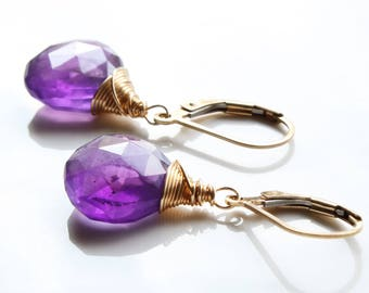 Amethyst Earrings, Gold filled wire wrap, purple gemstone, February birthstone, holiday gift for her, artisan boho chic earrings, 2851