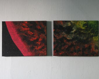 NLK-1619 Two-Piece Cosmic Painting, original artwork