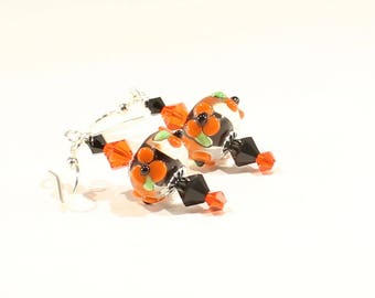 Orange and Black Earrings Flower Earrings Lampwork Earrings Swarovski Crystal Earrings Fall Earrings Beaded Earrings Beaded Jewelry