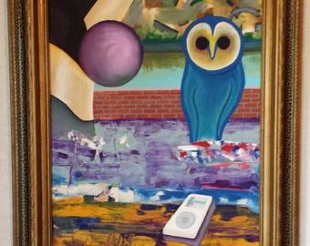 Blue Owl - Acrylic on Canvas Board