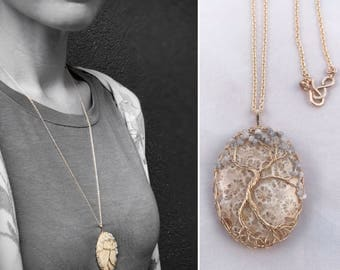 "Tree Of Life Pendant Necklace - Lady Tree - 14k Yellow Gold Filled - Fossilized Coral - Genuine Grey/White Diamonds - ""First Bloom"""