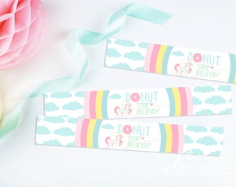 Unicorn Water Bottle Labels - Rainbow Water Bottle Labels - Donut Water Bottle Labels