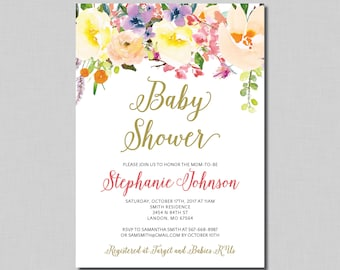 Girl Baby Shower Invitation watercolor floral baby shower gold baby shower BF31 Digital or Printed