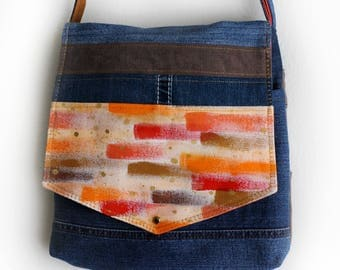 Upcycled Painted Denim Purse Crossbody Messenger Bag Handmade Unique
