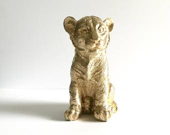 GOLD Tiger Cub Animal Statue for Table top safari animal gold tiger nursery decor kids room decor office decor