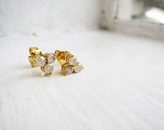 Small Vintage 3-stone Diamond Earrings in 10K Gold