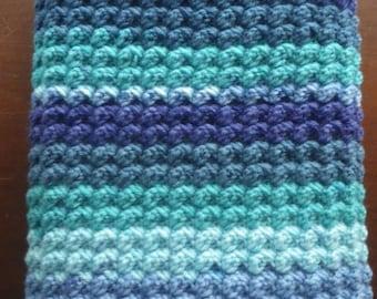 Crochet Bobble Baby Blanket in Shades of Blue Handmade Soft Stripes Afghan Shower Gift Bedding Nursery Receiving Boy Lapghan Lap Stroller