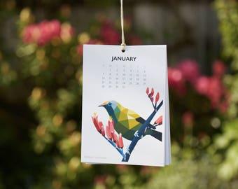 ON SALE New Zealand birds calendar, 2018 calendar, Kiwi bird calendar, Geometric calendar, Illustrated calendar, Kiwiana art, Wall calendar