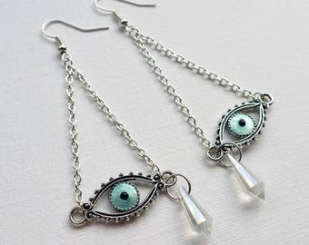 All-Seeing Eye Talisman Earrings, eye amulet dangle earrings, Daliesque teardrop and eye earrings