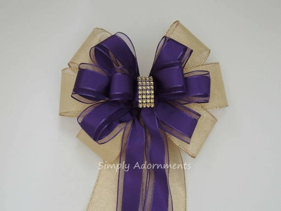 Purple gold Bling Wedding Pew Bow Gold purple Wedding Pew Bow Purple Gold Church Aisle Wedding Purple gold Bridal shower Baby shower Decor