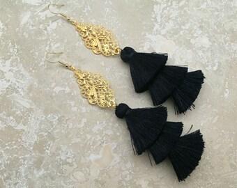 "Sahara Tassel Chandelier Earrings, Gold Filigree Chandelier Earrings, Black Layered Tassel Earrings,5"" Drop, Bridal Earrings, Brithday Gift"